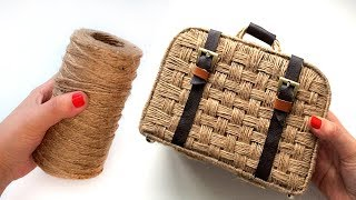 DIY Decorative Suitcase   Jute weaving   suitcase made of jute and cardboard
