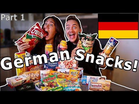American Girlfriend Tries GERMAN SNACKS & CANDY! (Part 1)