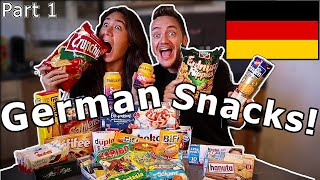 American Girlfriend Tries GERMAN SNACKS & CANDY! (Part 1)
