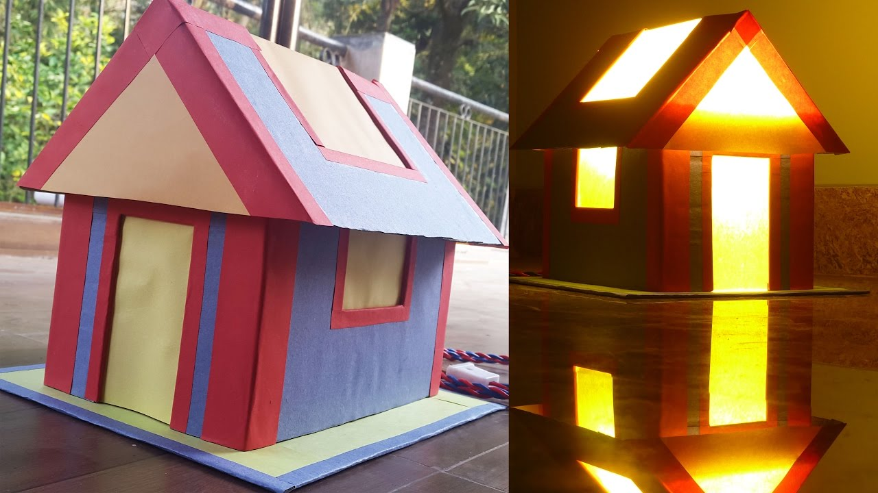 How To Make A Cardboard House Cum Lamp Shades Using