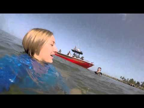 Caught in a rip current