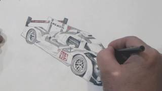 Porsche 919 Hybrid time lapse drawing with colored pencils and blender marker.
