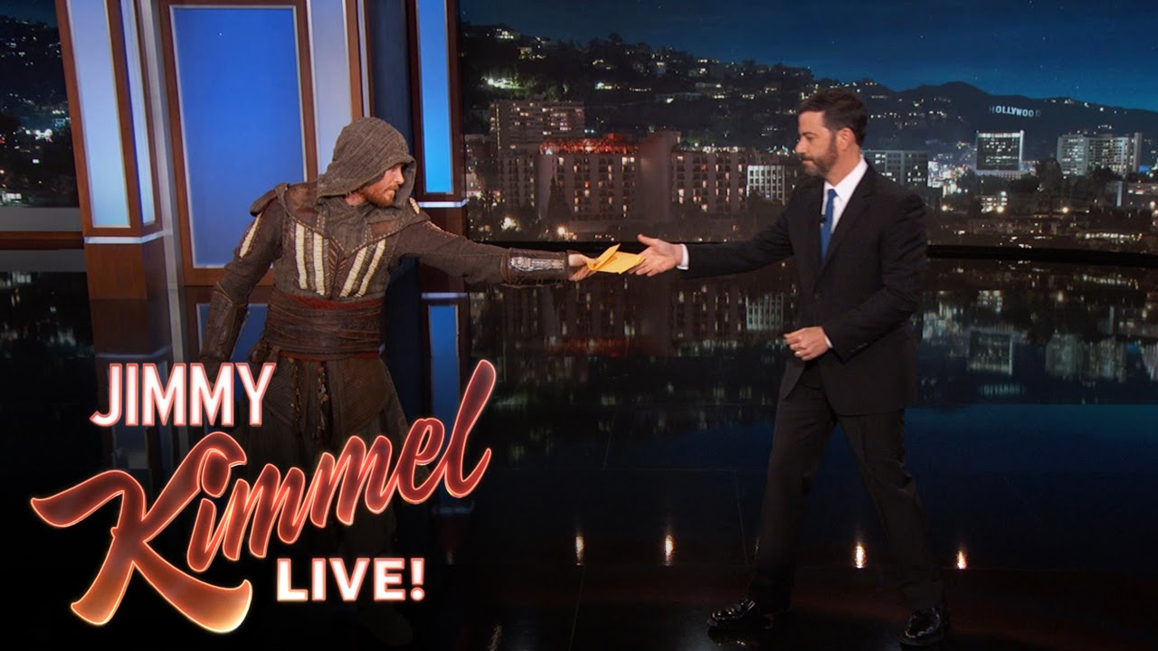 "Download Deliveryman Brings Jimmy Kimmel The New ""Assassin's Creed"" Trailer"