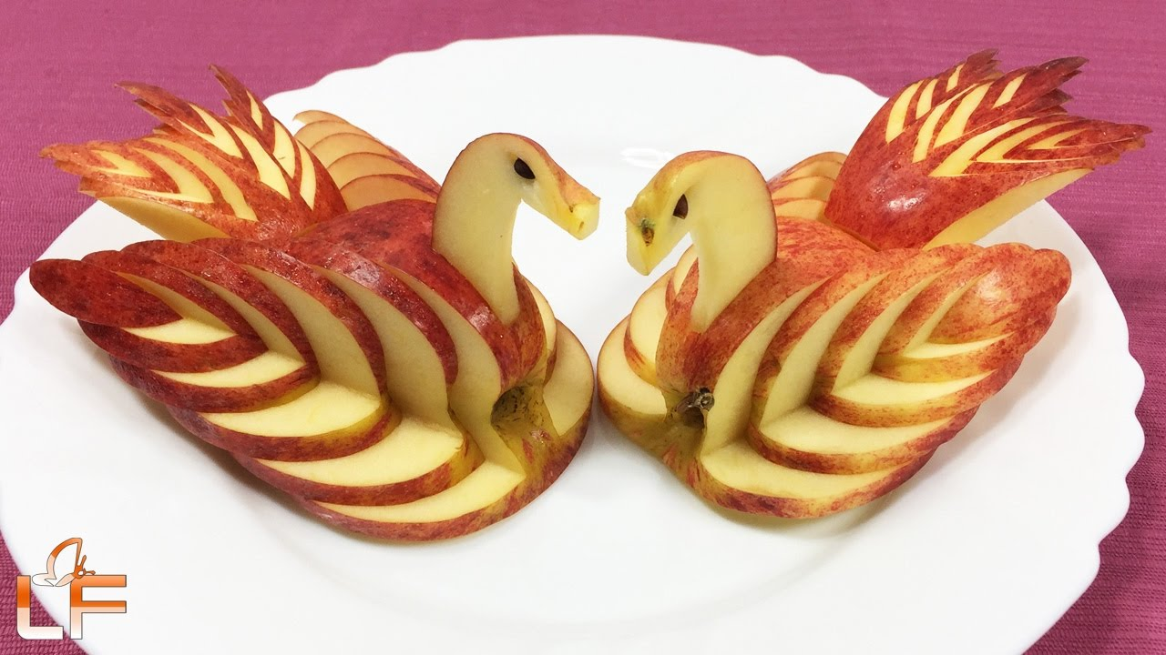 How to make apple swan garnish fruit carving video for
