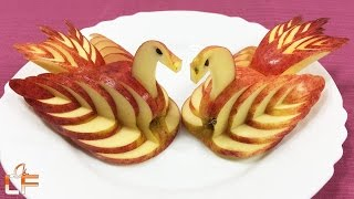 Gambar cover How to Make Apple Swan Garnish - Fruit Carving Video For Beginners