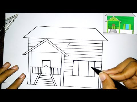 Sketsa Rumah Upin Ipin