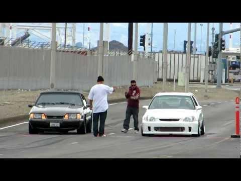 Turbo Civic vs Mustang 5.0