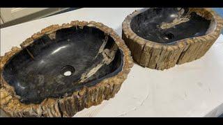 Petrified Wood Sinks Rustic Bathroom