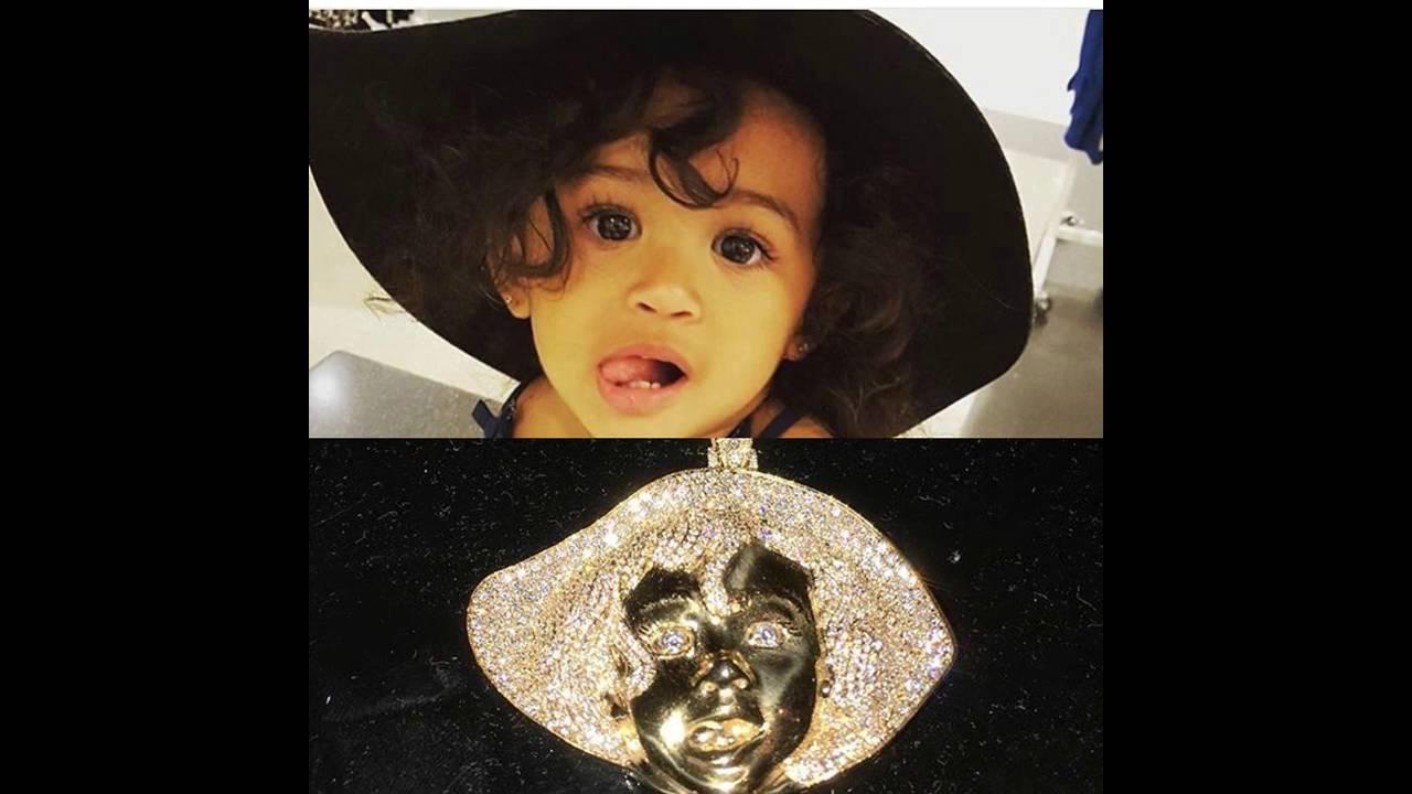 Chris brown custom made diamond pendant of his daughter youtube aloadofball Image collections