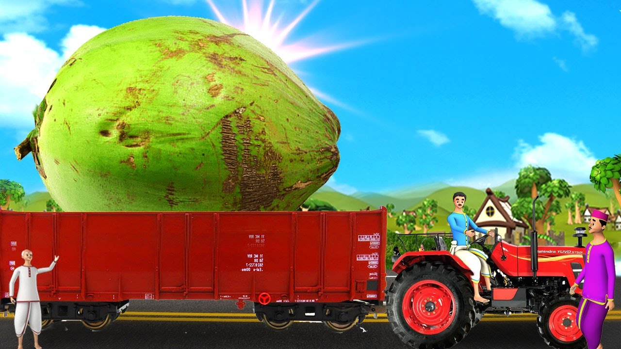 டிராக்டர் ரயில் மாபெரும் தேங்காய் - Tractor Train Giant Coconut 3D Animated Tamil Moral Stories