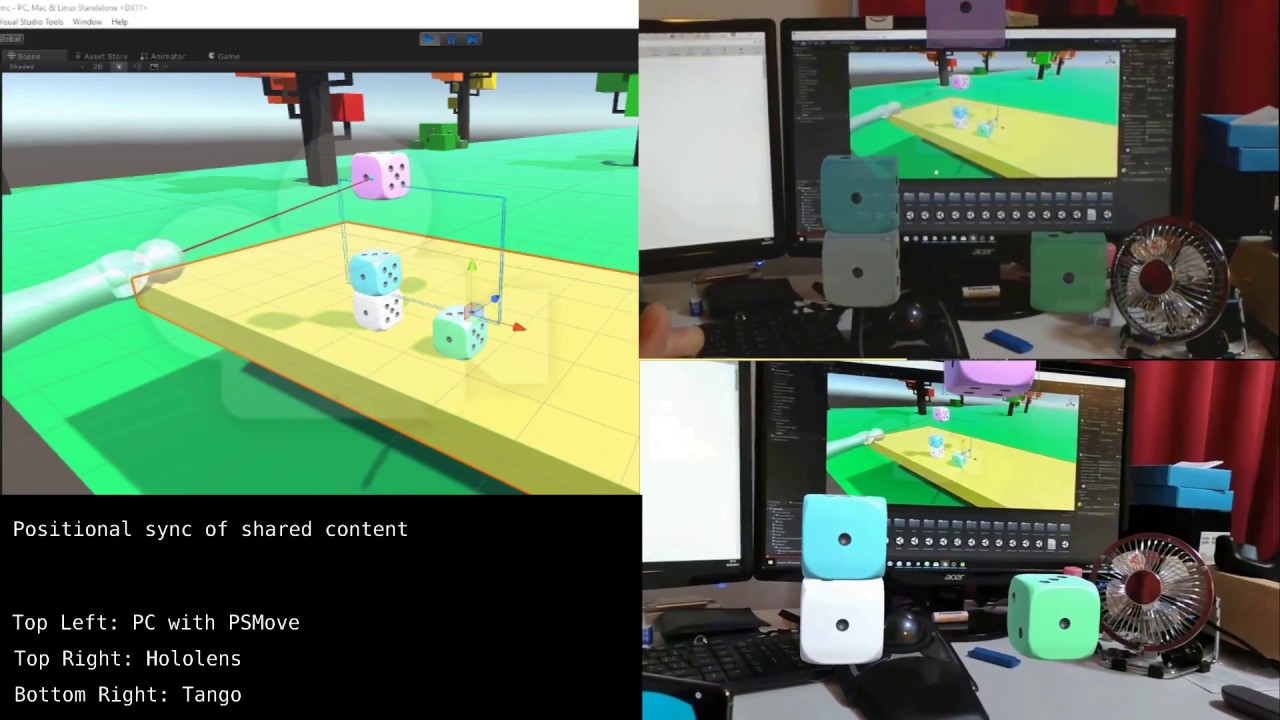Positional Sync of shared contents among HoloLens, Google Tango, & another worlds