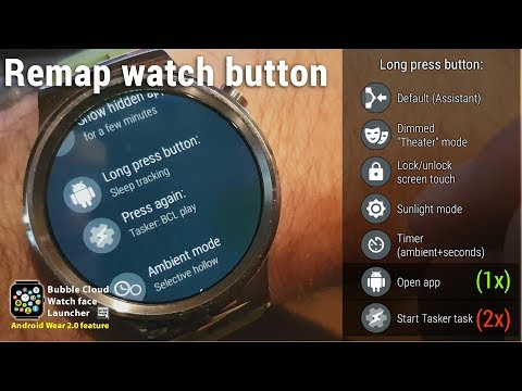 Long press button for Theater mode in Android Wear 2.0 using Bubble Cloud Launcher (No Root needed!)