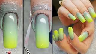 Сложный многоцветный градиент гель лаками Коррекция ногтей акрилом Модный маникюр на клюющих ногтях