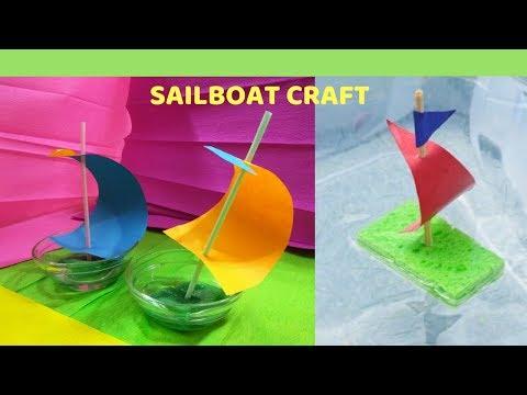 SPONGE SAILBOAT CRAFT||| YATCH CRAFT||| DIY CRAFT||| PAPER BOAT CRAFT|| FLOATING SAILBOAT CRAFT