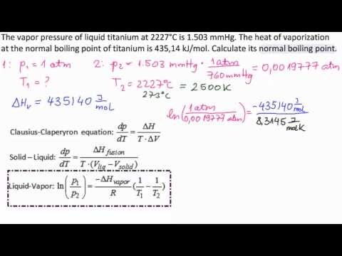 Chemistry 201 Calculating Boiling Point Using Clausius Clapeyron ...