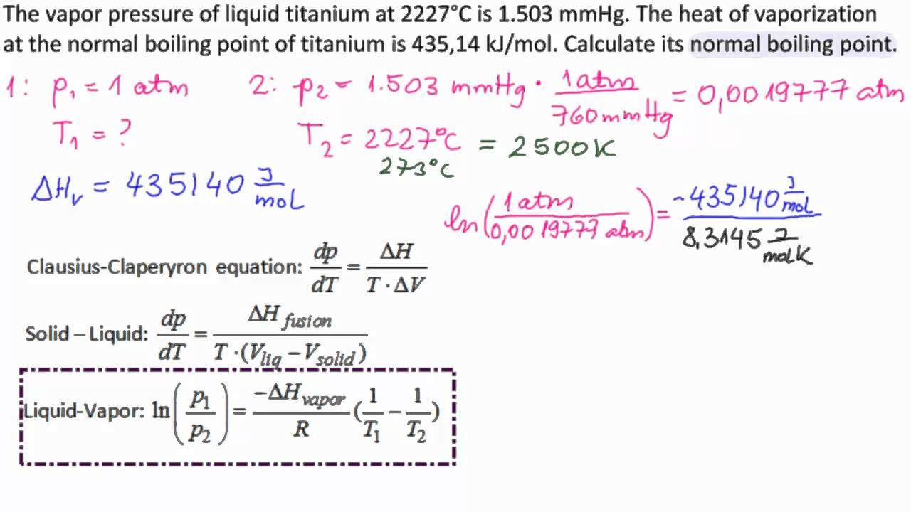 heat of vaporization and vapor pressure relationship