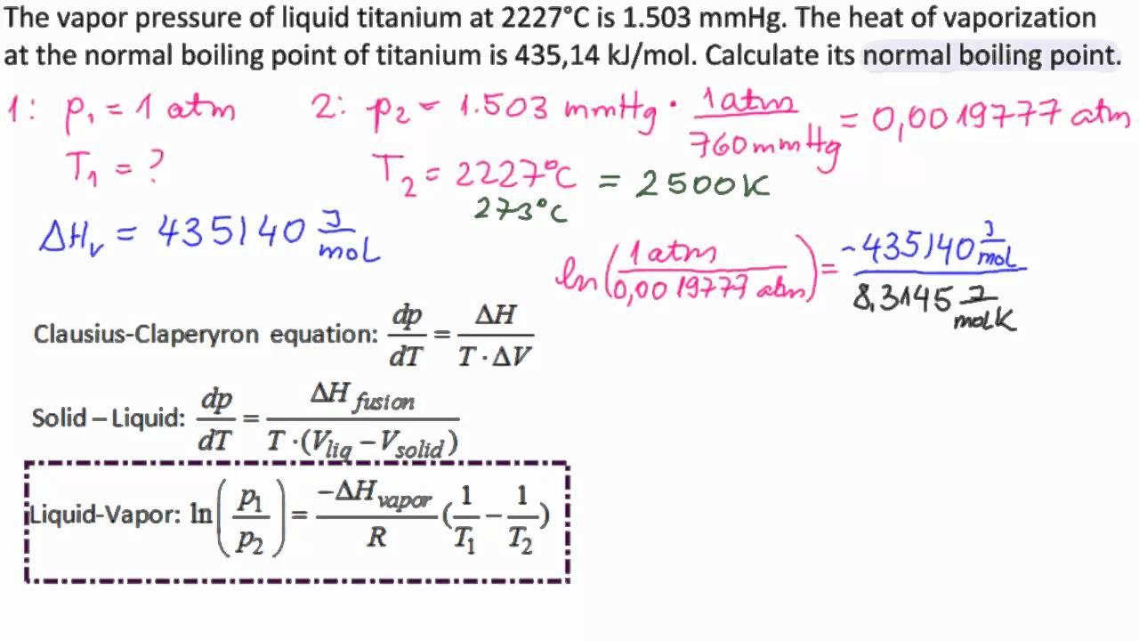 vapor pressure and mass relationship
