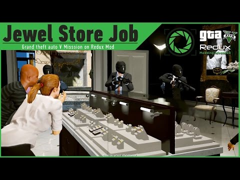 GTA 5 on REDUX Graphics Mod:Jewel Store Job Heist mission/Motorcycle Tunnel Escape GAMEPLAY