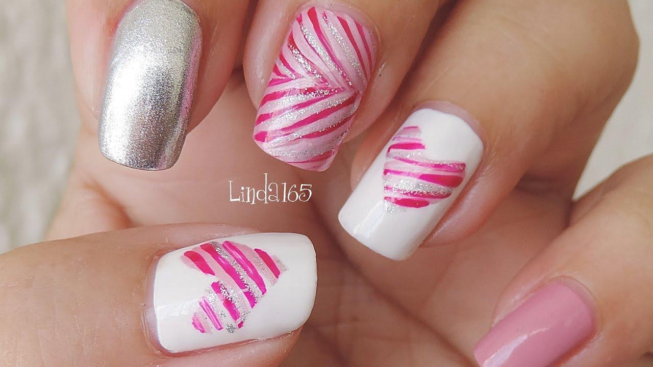 Nail art valentine ribbons dise o de u as para san - Diseno d unas ...