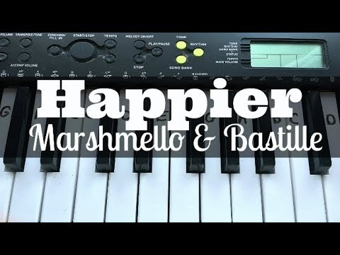 Happier – Marshmello ft Bastille | Easy Keyboard Tutorial With Notes