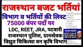 राजस्थान बजट 75000 पदों पर भर्तियां जानिए किस विभाग में कौन-कौन सी व कितनी भर्तियां  Vacancies 2019