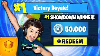 5 YEAR OLD LITTLE BROTHER ATTEMPTS TO WIN 50,000 V-BUCKS IN FORTNITE SOLO SHOWDOWN! (JACKPOT!)