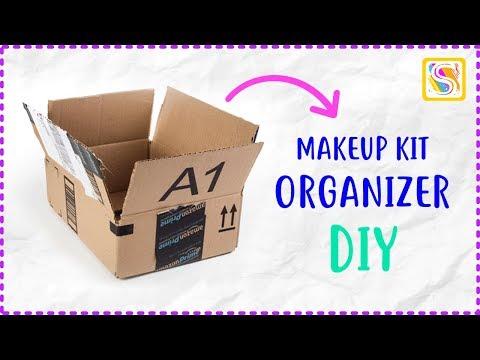 Makeup Organizer DIY from Waste Amazon Box Craft   Best Out of Waste Craft Ideas   Waste Box Ideas