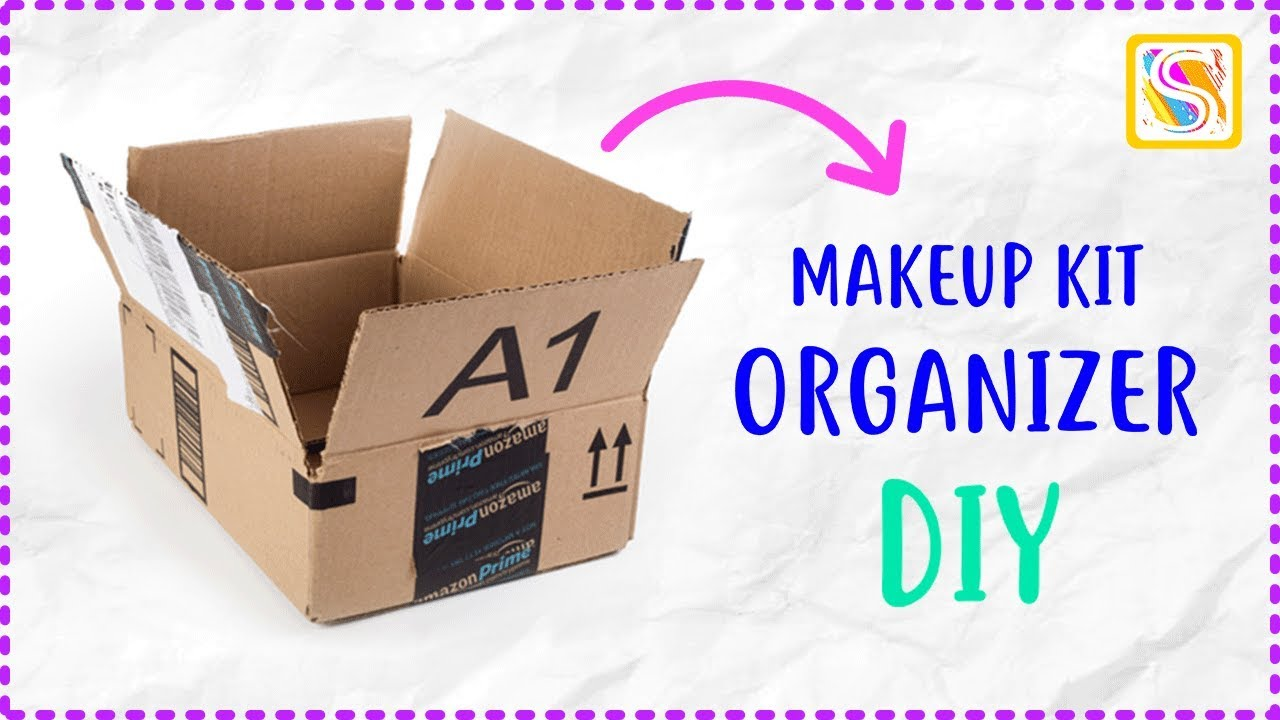 Makeup organizer diy from waste amazon box craft best for Best out of waste craft items