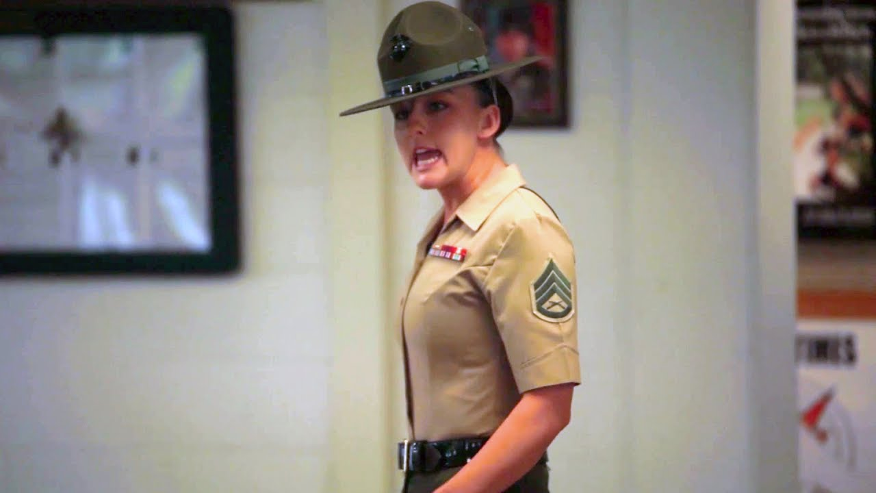 u s marine drill instructors meet new recruits youtube