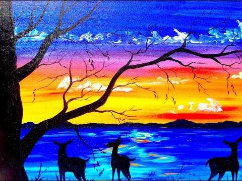 Beginners acrylic painting tutorial   Deer and Sunset Lake   Silhouette