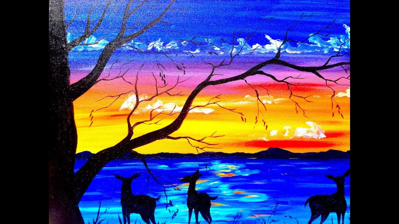 Beginners acrylic painting tutorial deer and sunset lake for Canvas painting tutorial for beginners