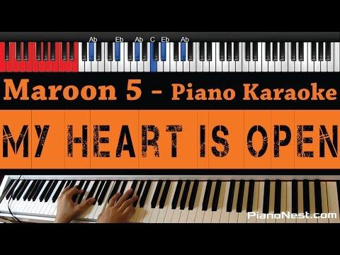 Maroon 5 Feat. Gwen Stefani - My Heart Is Open - HIGHER KEY (Piano Karaoke / Sing Along)