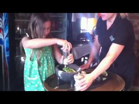 Gaby Making Guacamole At Cafe Maya