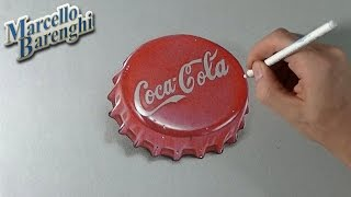 How I draw a Coca-Cola red bottle cap 3D illusion