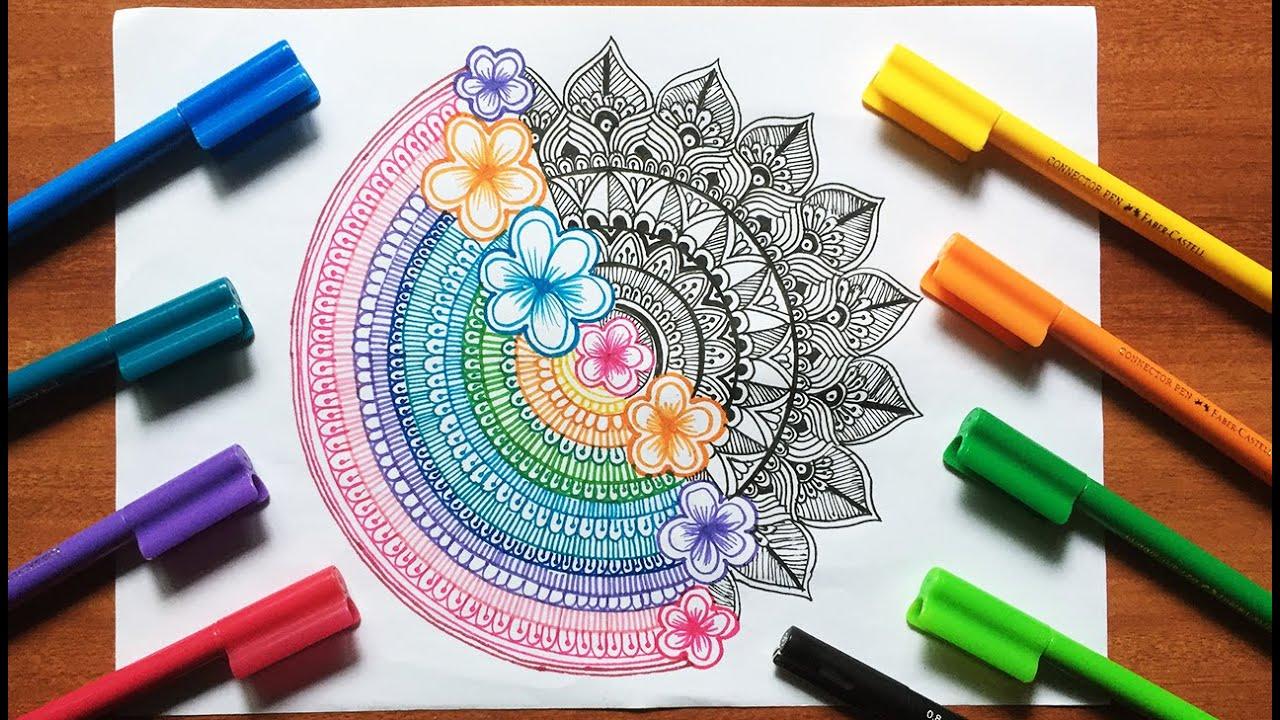 how to draw beautiful colorful mandala abstract mandala art colorful mandala art