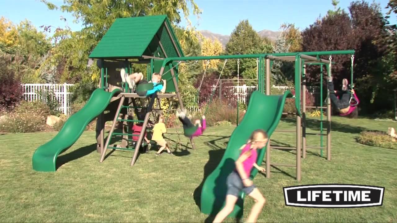 Lifetime Double Slide Deluxe Playset Earthtone Youtube