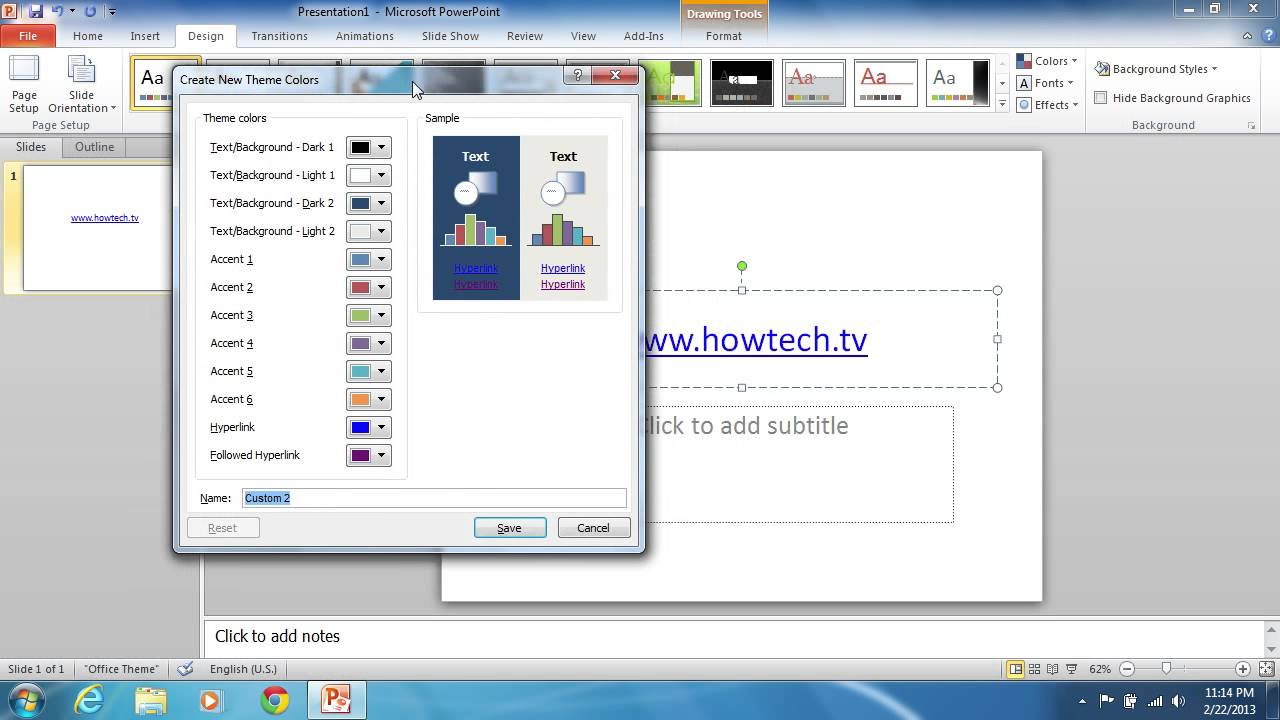 How To Change Powerpoint 2010 Hyperlink Color Youtube