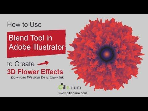 Create 3D Flower Vector Using Blend Tool Illustrator - Graphic Design Tutorial