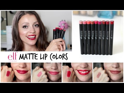 ELF Matte Lip Colors 2015 | SWATCHES - 9 SHADES!