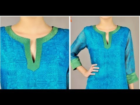 Simple Kurti Neckline Making Cutting & Stitching
