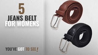 Top 10 Jeans Belt For Womens [2018]: (Pack of 2) Women Stretchable Belt Stretch Uptop 34 Waist Sleek