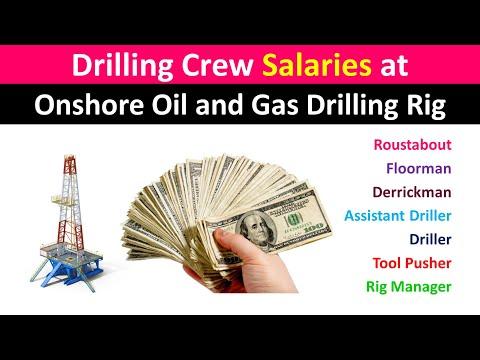 Drilling Crew Salaries at Onshore Oil and Gas Drilling Rig | Roustabout Floorman Derrickm- - - - -