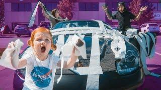 Adley giant TOILET PAPER prank!! baby vs car