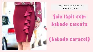 Saia Lapis babado cascata (Caracol) Modelagem e Costura