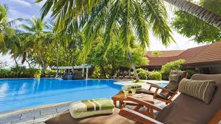 Картинка лето. Бассейн, пальмы, деревья, экстерьер, Мальдивы, шезлонги, столик, отель
