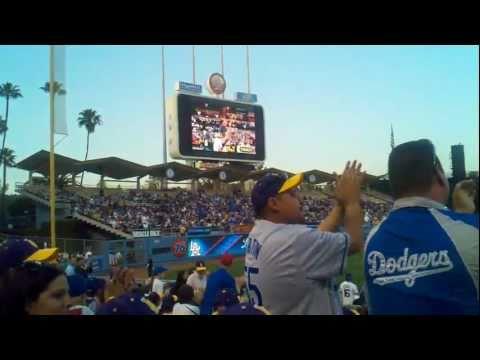 Kareem Abdul-Jabbar and Bill Sharman Throwing Out First Pitch at Dodgers Stadium