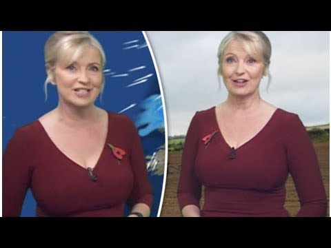 Bbc weather: carol kirkwood sparks online frenzy as she teases cleavage in plunging dress