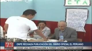 ONPE rechaza publicación del diario oficial El Peruano