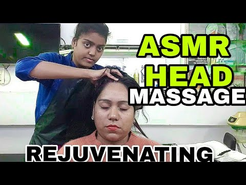 Renuvenating head massage therapy with Ear reflexology by Indian Female Barber   ASMR Relaxation
