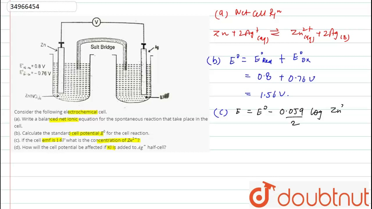 Consider The Following Electrochemical Cell A Write A Balanced Net Ionic Equation For Th Youtube